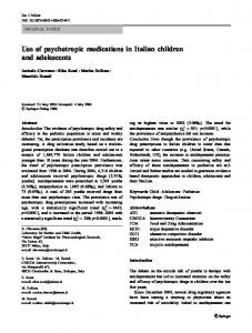 Use of psychotropic medications in Italian children and ... - SINPIA