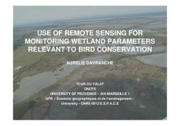 use of remote sensing for monitoring wetland parameters relevant to ...