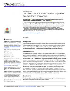 Use of structural equation models to predict dengue illness ... - PLOS