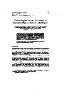 Use Of Super-Concepts To Customize Electronic Medical Records ...