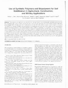 Use of Synthetic Polymers and Biopolymers for Soil ... - CiteSeerX