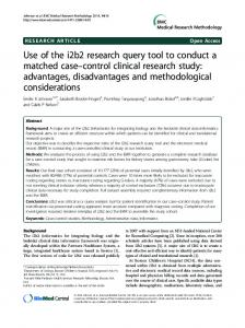 Use of the i2b2 research query tool to conduct a matched ... - CiteSeerX