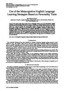 Use of the Metacognitive English Language Learning Strategies ... - Eric
