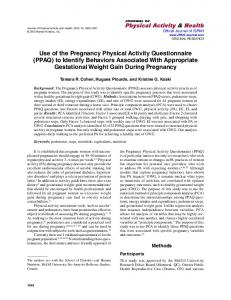 Use of the Pregnancy Physical Activity ... - Semantic Scholar