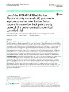 Use of the PREPARE (PREhabilitation, Physical