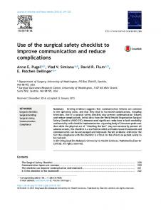 Use of the surgical safety checklist to improve communication and ...