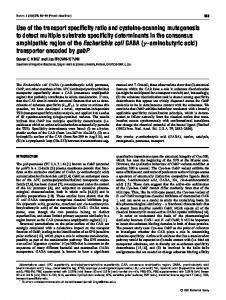Use of the transport specificity ratio and cysteine ... - Semantic Scholar