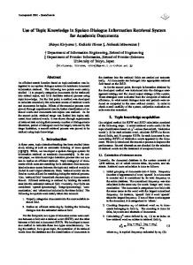 Use of Topic Knowledge in Spoken Dialogue ... - Semantic Scholar