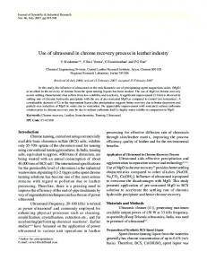 Use of ultrasound in chrome recovery process in ... - NOPR - niscair