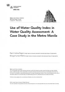 Use of Water Quality Index in Water Quality ... - UNU Collections