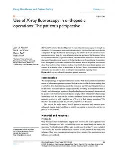 Use of X-ray fluoroscopy in orthopedic operations