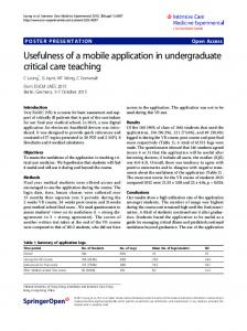 Usefulness of a mobile application in undergraduate ... - Springer Link