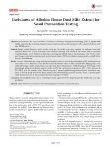 Usefulness of Allerkin House Dust Mite Extract for Nasal Provocation ...