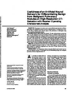 Usefulness of an Artificial Neural Network for ...