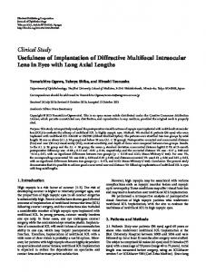 Usefulness of Implantation of Diffractive Multifocal Intraocular Lens in ...