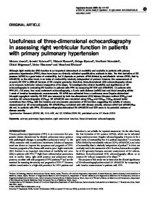 Usefulness of three-dimensional echocardiography in ... - Nature
