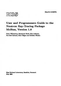 User and Programmers Guide to the Neutron Ray-Tracing ... - McStas