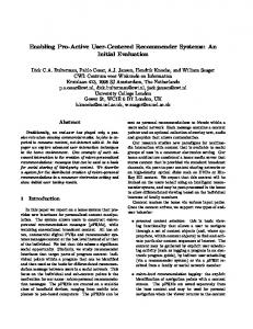 user-centered-recommender-systems - Infoscience