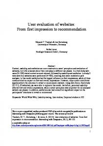 User evaluation of websites: From first impression ... - Meinald Thielsch
