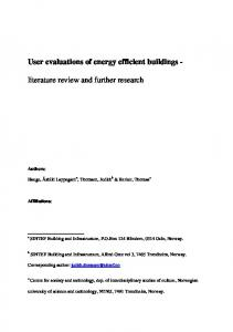 User evaluations of energy efficient buildings