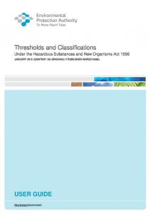User Guide to Thresholds and Classification