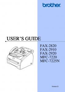 Users Manual For IntelliFax- 2820 - Brother