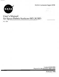 User's Manual for Space Debris Surfaces (SD_SURF)