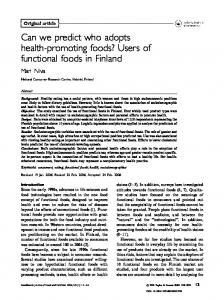 Users of functional foods in Finland - Food & Nutrition Research