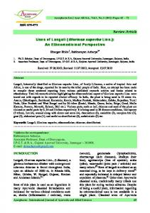 Uses of Langali (Gloriosa superba Linn.) - International Journal of ...