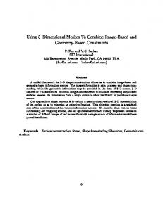 Using 3 Dimensional Meshes To Combine Image-Based ... - CiteSeer