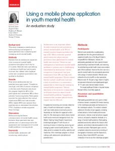 Using a mobile phone application in youth mental health - Informit