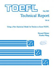 Using a New Statistical Model for Testlets to Score TOEFL