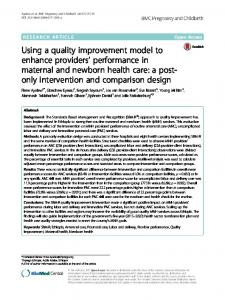 Using a quality improvement model to enhance providers ...