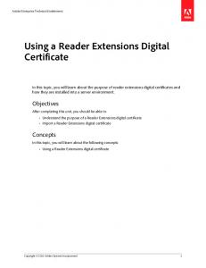 Using a Reader Extensions Digital Certificate - Adobe