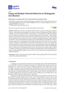 Using Ad-Related Network Behavior to Distinguish Ad Libraries - MDPI