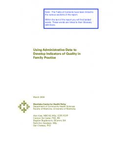 Using Administrative Data to Develop Indicators of Quality in Family ...