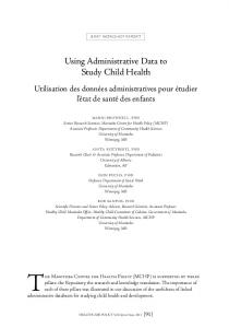 Using Administrative Data to Study Child Health
