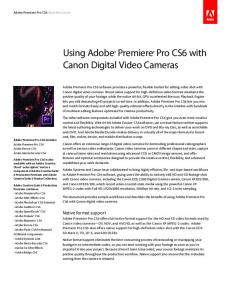 Using Adobe Premiere Pro CS5 with Canon digital camcorders