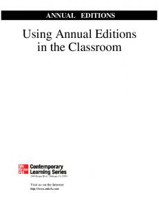 Using Annual Editions in the Classroom