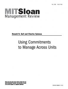 Using Commitments to Manage Across Units