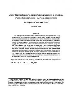 Using Competition to Elicit Cooperation in a Political ... - CiteSeerX