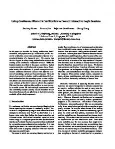 Using Continuous Biometric Verification to Protect Interactive Login ...