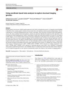 Using coordinate-based meta-analyses to explore ... - Springer Link