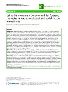 Using diel movement behavior to infer foraging ... - Save the Elephants