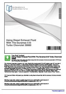 using Diesel exhaust fluiD with the Duramax 6.6l turbo-Diesel the ...