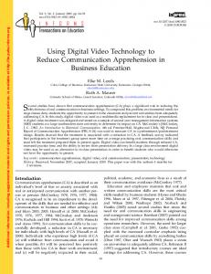 Using Digital Video Technology to Reduce Communication ...