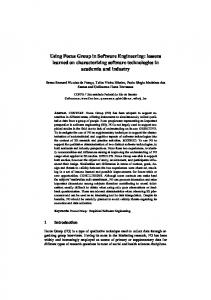 Using Focus Group in Software Engineering: lessons learned on ...