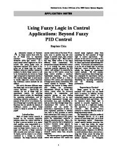 Using Fuzzy Logic in Control Applications: Beyond Fuzzy PID ... - chius