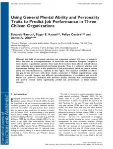 Using General Mental Ability and Personality Traits to Predict Job ...