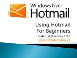 Using Hotmail For Beginners